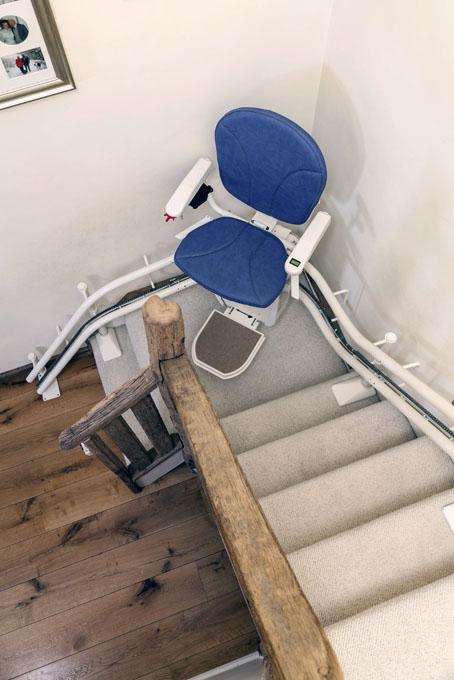Monte Escalier Confort Plus Platinum double rail bleu
